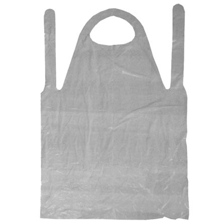 Engångsförkläde vit plast 80x152cm 20pack