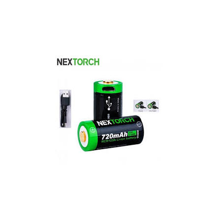 Nextorch CR123 720 mAh laddkontakt 2st